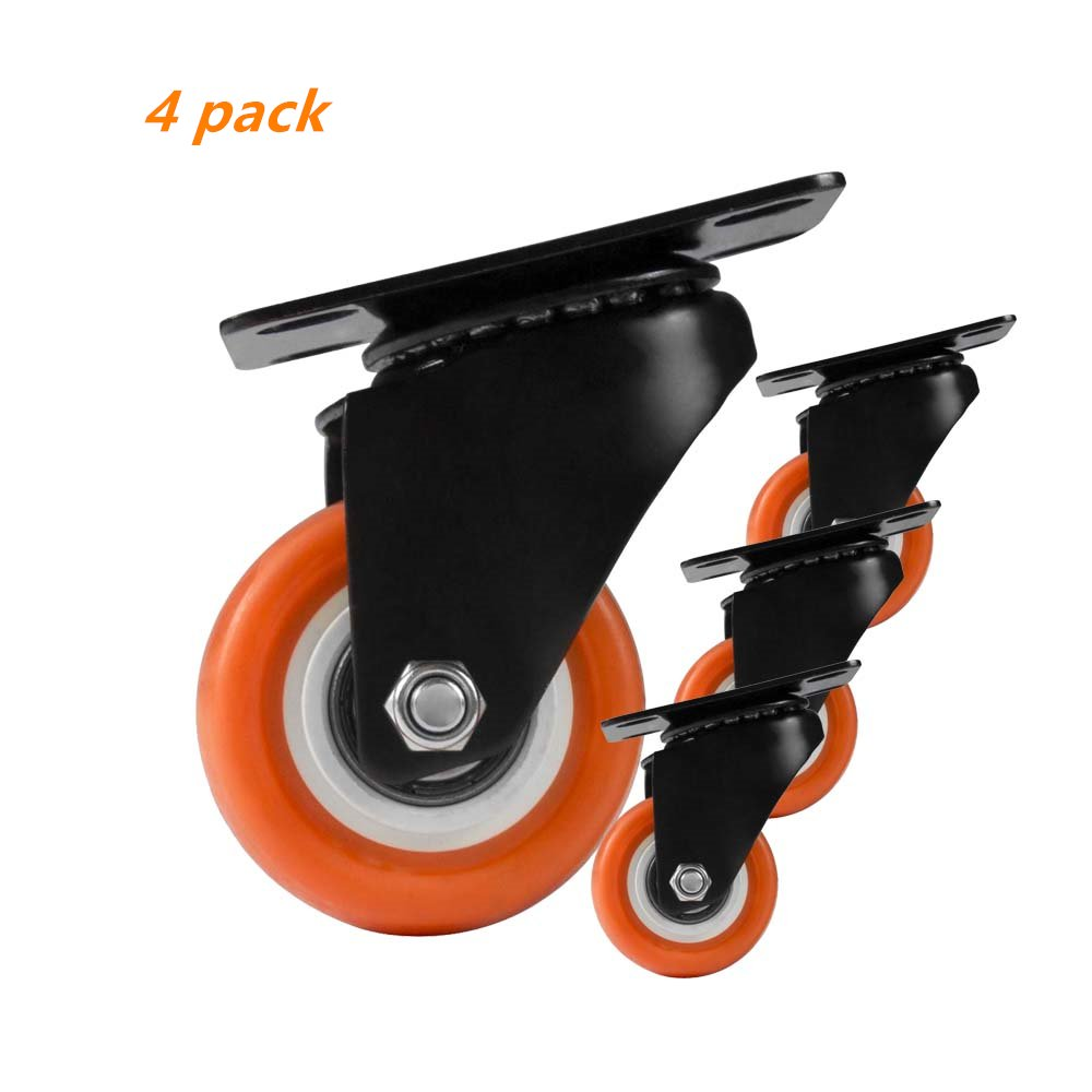 2 Inch Replacement Top Plate Swivel Casters Solid Rubber Wheels Heavy Duty 550lb Non Brake Orange