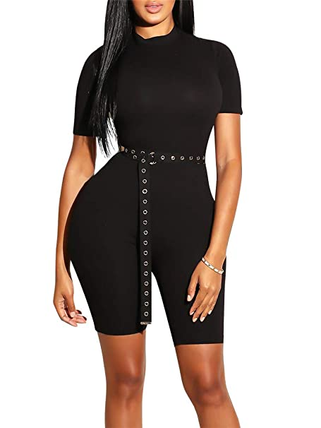28d76ab0f7a GOBLES Women s Bodycon Rompers Casual Solid Short Sleeve Jumpsuits with  Belt Black
