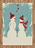 Christmas Area Rug by Ambesonne, Snowman and Woman Romantic Couple In Love Holding Hands Grunge Display, Flat Woven Accent Rug for Living Room Bedroom Dining Room, 5.2 x 7.5 FT, Seafoam Red Cream
