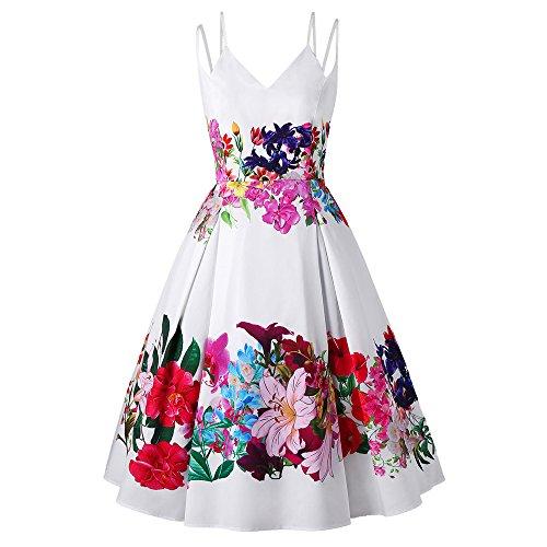 - CharMma Women's Plus Size Double Straps V Neck Floral Print Party Dress (White, 14)