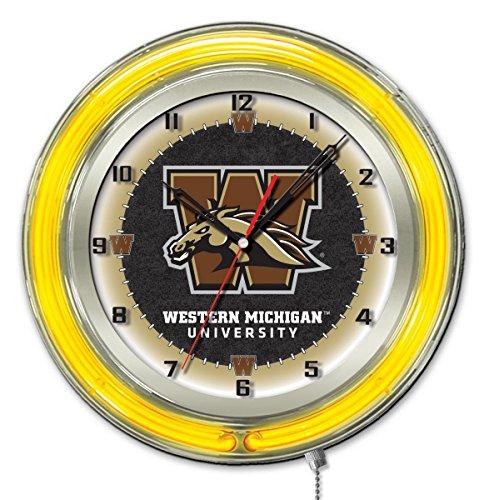 Clock Broncos Neon - Holland Bar Stool Co. Western Michigan Broncos HBS Neon Yellow Battery Powered Wall Clock (19