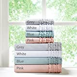 Ruffled Twin Bed Sheets Set, Cottage/Country Bed Sheets Twin, 4-Piece Include Flat Sheet, Fitted Sheet & 2 Pillowcases, Grey