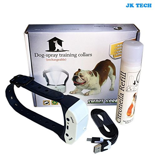 JK TECH Anti-Bark Spray Collar Pet Citronella Rechargeable - Spray Bark Collar Small Dog