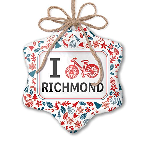 NEONBLOND Christmas Ornament I Love Cycling City Richmond Red White Blue Xmas