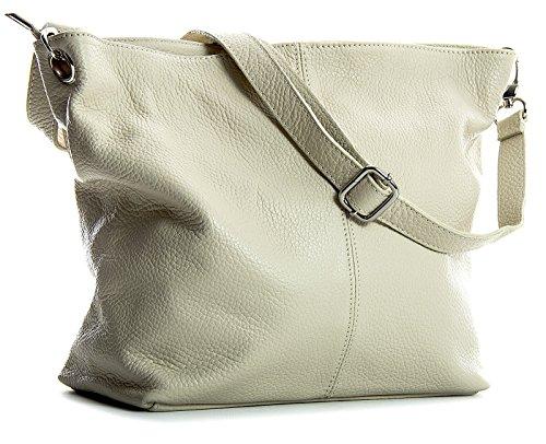 Big Handbag Shop - Borsa a tracolla, da donna, formato medio, in vera pelle italiana Cream