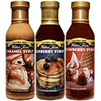 Walden Farms Syrup Variety Pack, Caramel, Blueberry, Strawberry – 3 Bottles