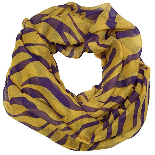 Tigers Poly Stripe - Purple and Yellow Tiger Stripe Lightweight Thin Poly Infinity Scarf