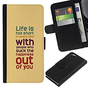 KLONGSHOP // Tirón de la caja Cartera de cuero con ranuras para tarjetas - Vida Cita inspiradora Marrón Rojo trullo - Apple Iphone 6 //
