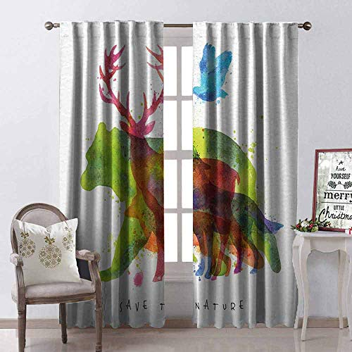 GloriaJohnson Animal Heat Insulation Curtain Alaska Wild Animals Bears Wolfs Eagles Deers in Abstract Colored Shadow Like Print for Living Room or Bedroom W42 x L63 Inch Multicolor