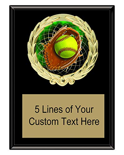 Plaques Award Wreath - Express Medals 5x7 Black Color Softball Plaque Award Trophy with Engraved Plate FCL546