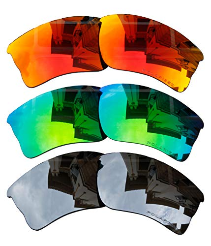 3 Pairs BVANQ Polarized Lenses Replacement for Oakley Quarter Jacket OO9200 Fire Red & Green & Black Iridium
