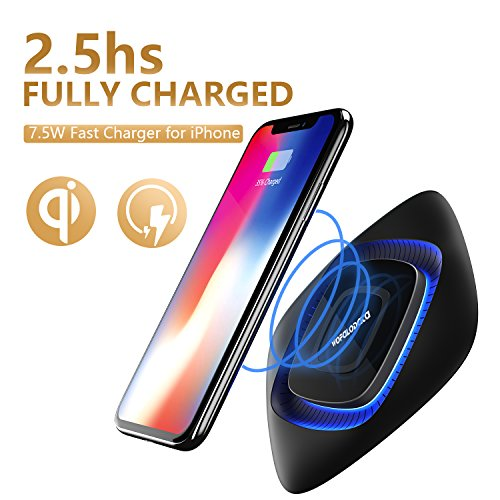 7.5W Fast Wireless Charger Pad for Apple iPhone X / 8 / 8 Plus ,10W QI Wireless Charging for Samsung Galaxy Note 8/Note 5, S6 S7 Edge S8 S8+ (NO AC Adapter)
