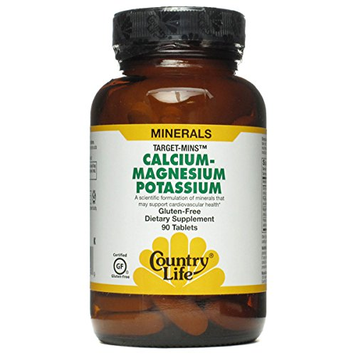 Country Life Target Mins Calcium Magnesium Potassium 500mg/500mg/99mg 180-Tablet (Recommended 180 Tabs)