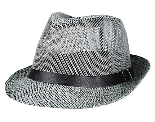 Anti-UV Sun Visor Jazz Straw Hat Summer Mesh Rolled Trim Cowboy Cap - Grey