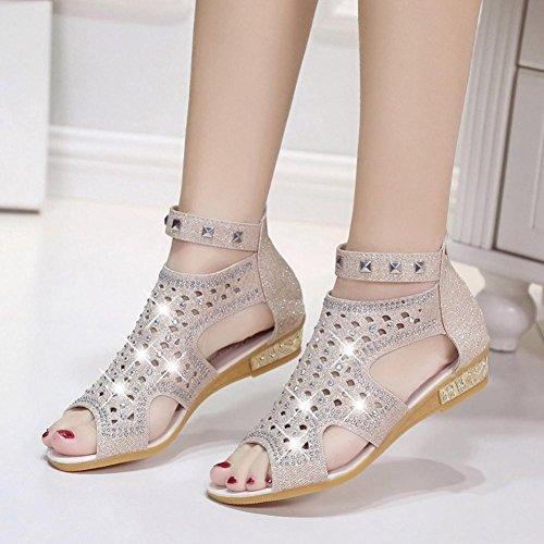 Mode Chaussures Creux De Dames Bouche Compensées Beige Poisson Printemps Été Mode Femmes Roma Sandales BURFLY RwgUpqU