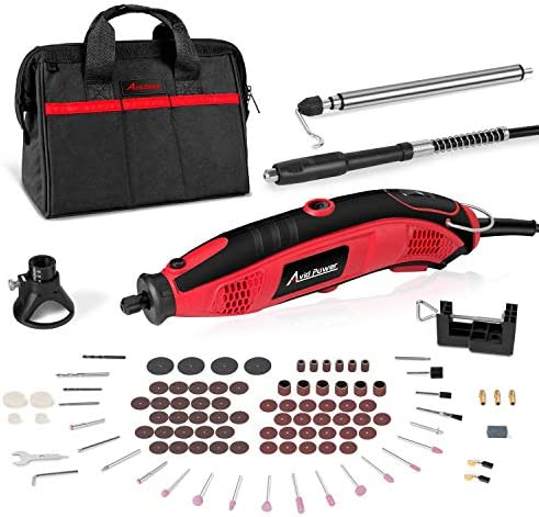 Rotary Tool Kit 1.5 Amp with 110pcs Accessories, Variable Speed, 3 Attachments Flex shaft, Holder Hanger and Cutting Guide for Home and Crafting Projects