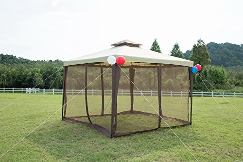 GOJOOASIS Metal Gazebo Outdoor 2-Tier Canopy Party Tent with Mesh Sidewalls 10x10 Beige & Brown by GOJOOASIS