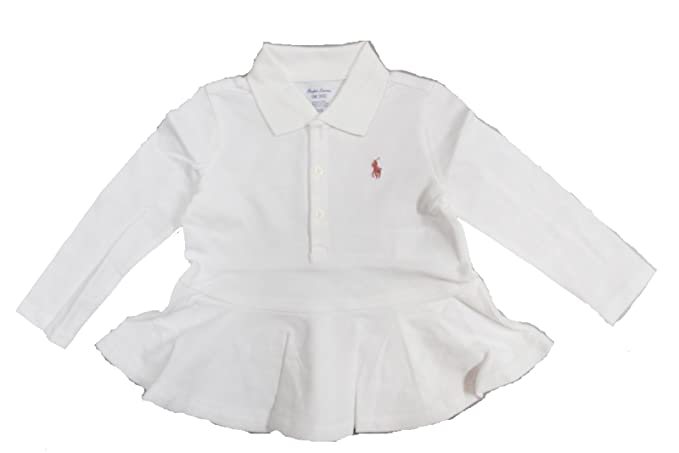 a7d1084850 Amazon.com: RALPH LAUREN Baby Girl Mesh Cotton Peplum Polo Shirt 18 ...