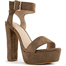 RF ROOM OF FASHION Ho-Lo High Chunky Heel Open Toe Dress Sandal - Platform Pumps Buckle Ankle Strap Evening Shoes