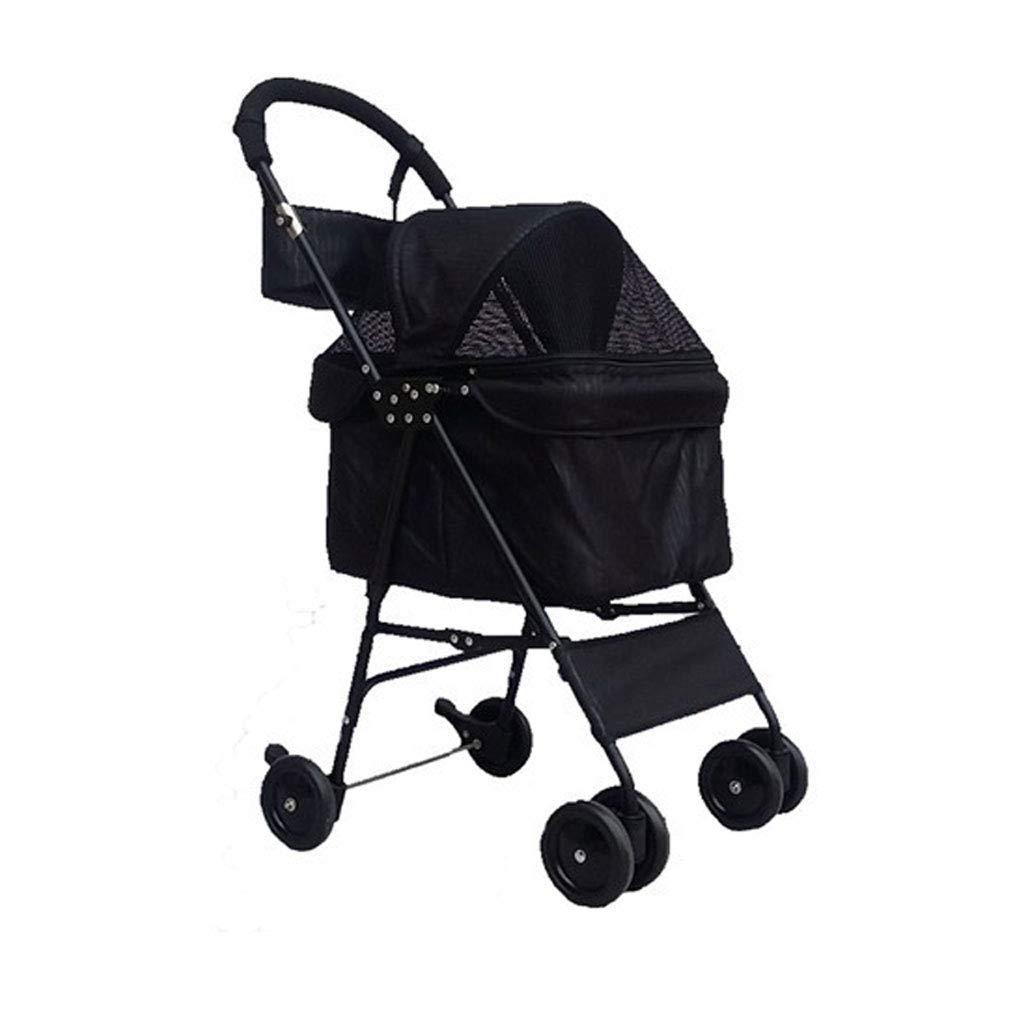 A Jzmaoi M4 Pet Stroller Walking Dog Cat Cart Portable Travel Animal Sports Car System Bearing 10KG. Pet car (color   A)