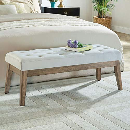 24KF Velvet Upholstered Tufted Bench with Solid Wood Leg,Ottoman with Padded Seat- Light Gray (Of End Bed Benches The)