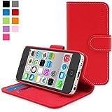 Funda iPhone 5c, Snugg™ - Carcasa Roja De Cuero (PU) Con Tapa Y Una Garantía De Por Vida Para Apple iPhone 5c