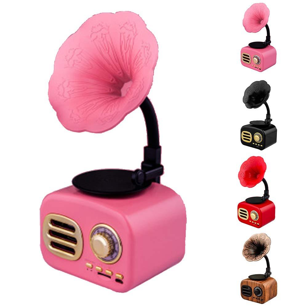 szdc88 Altavoz Bluetooth De Radio Retro,Altavoz De Mini Cuernos Am FM Radio Bluetooth Retro Est/éReo Soporte USB Port/áTil Tarjeta TF Mini Gram/óFono Hogar,El Autom/óVil,Los Viajes