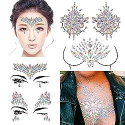 4 Sets Rave Festival Rhinestone Face Body Jewelry Stick On
