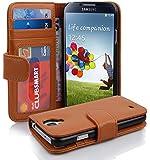 Cadorabo - Book Style Hülle für Samsung Galaxy S4 (I9500) - Case Cover Schutzhülle Etui mit 3 Kartenfächern in COGNAC-BRAUN