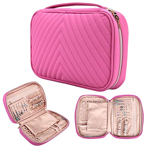 - Caperci Travel Jewelry Organizer Pink, Soft Leather Traveling Jewelry Case Storage Bag for Necklaces, Earrings, Rings, Bracelets
