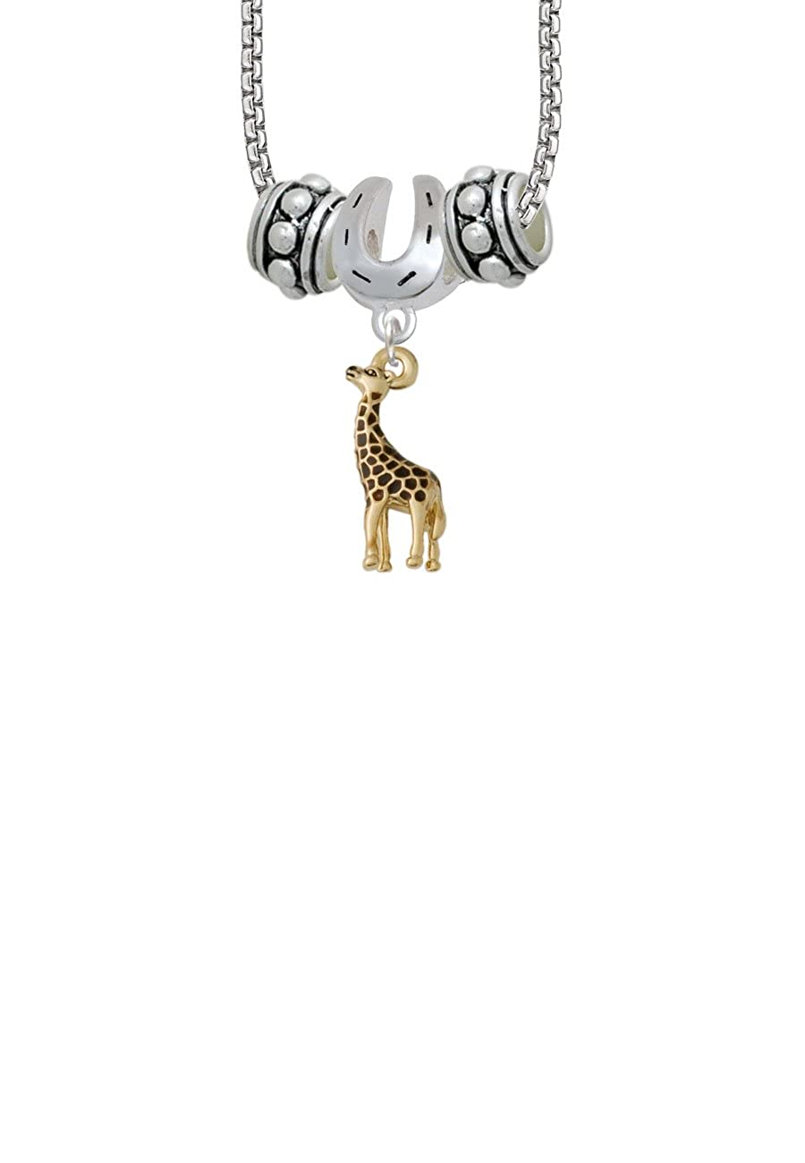 Giraffe Horseshoe 3 Bead Necklace