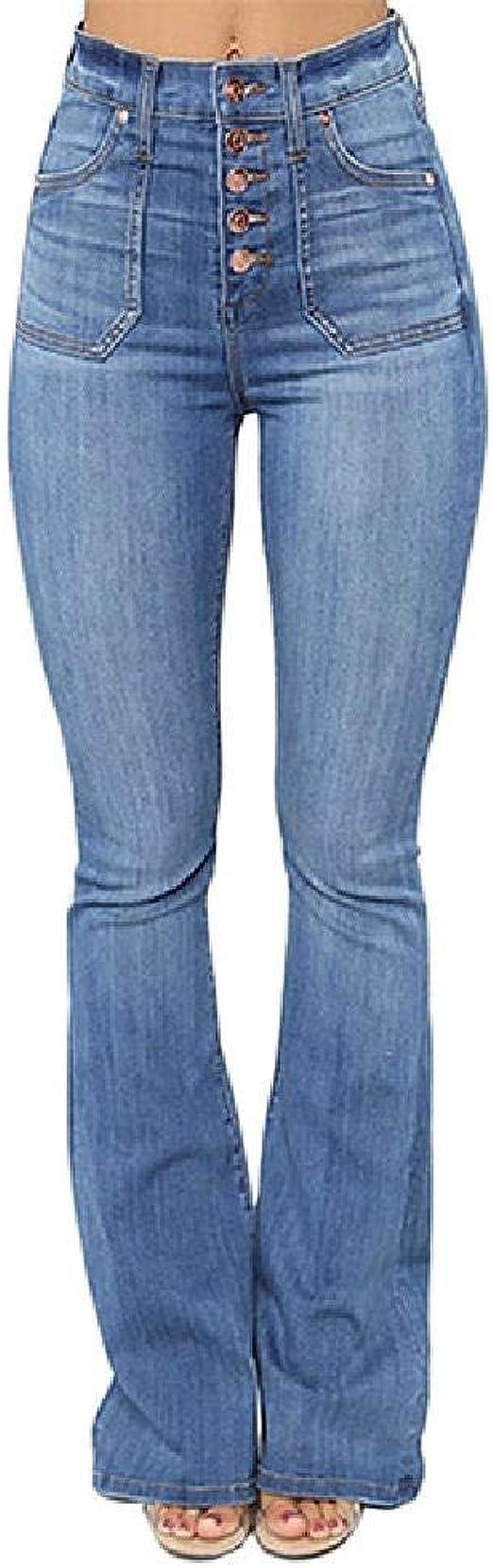Nobrand Pantalones Vaqueros Acampanados De Boton Alto Elastico De Cintura Alta Para Mujer Pantalones Casuales Para Mujer Talla Xs Xxl Vaqueros Ropa