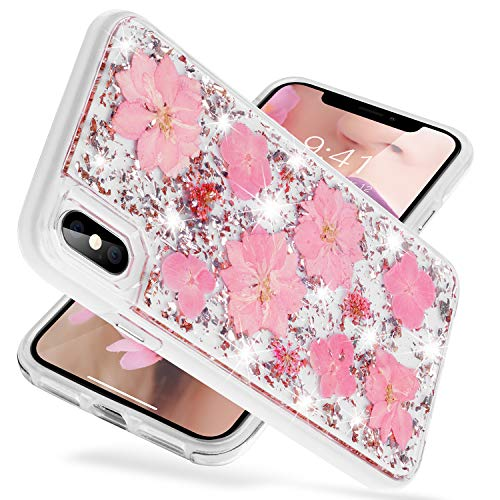 Pink Glitter Flowers - iPhone Xs Max Case,Glitter Bling [Dried