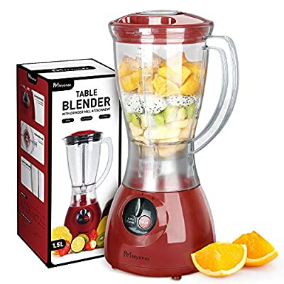 MYONAZ Blender with Plastic Jar and Auto Clean for Smoothies & Shakes / Household Mixer Grinder with 1.5 Liter of Blender Goblet / Electric Blender with Durable Motor, Blending, Grinding, Mincing and Stirring (Red)
