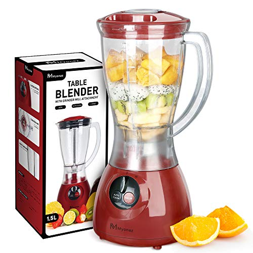 MYONAZ 48 oz Blender for Smoothies & Shakes Household Mixer Grinder with 1.5 Liter Electric Blender with Durable Motor, Blending, Grinding, Mincing and Stirring, Red