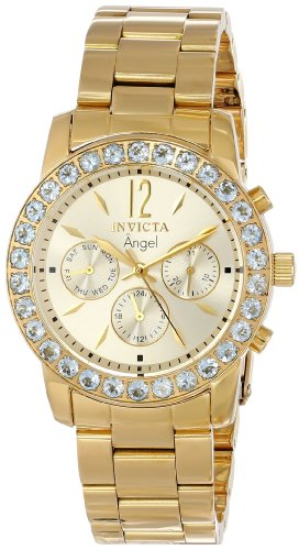 Invicta Women s 14157 Angel 18k Gold Ion-Plated Stainless Steel and Aquamarine Watch