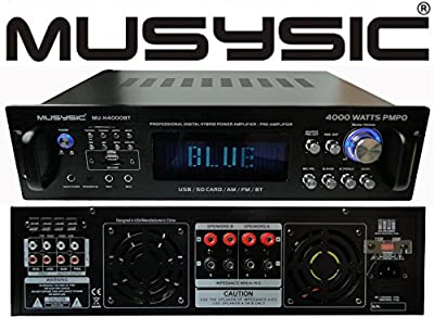 Professional 4000 Watts Hybrid Power Amplifier / Pre-Amplifier / Receiver Bluetooth AM/FM Tuner USB/SD Slot MP3 / iPod Input MU-H4000BT from MUSYSIC