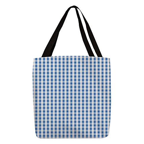 CafePress - Small Blue Gingham - Polyester Tote Bag - Gingham Plaid Tote