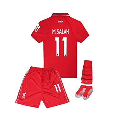 df78a8219 18-19 Home #11 M Salah Liverpool Kids/Youth Soccer Jersey & Shorts