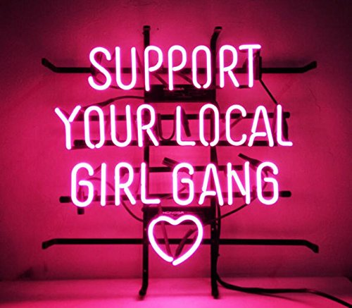 Mirsne neon signs, glass tube neon lights, 24'' by 24'' inch Support Your Local Girl Gang neon signs bar, the best neon sign custom supplied for a wide range of personal uses.