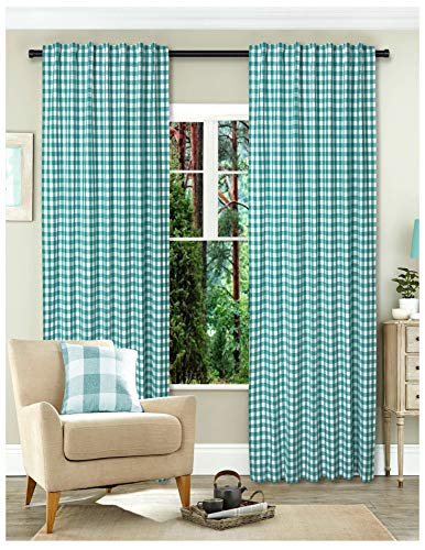 (Gingham Check Window Curtain Panel, 100% Cotton, Teal/White, Cotton Curtains, 2 Panels Curtain, Tab Top Curtains, 50x96 Inches, Set of 2)