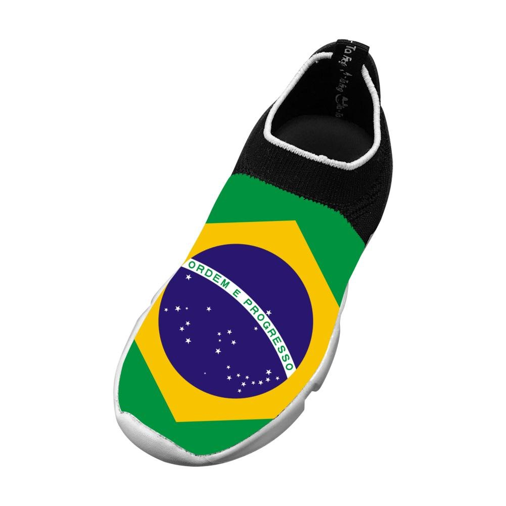 MREIO Brazil Flag Childrens Breathable Fly Knit Shoes Outdoor Loafers Sneakers Gym Shoes For Girls