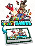 Super Mario Odyssey Cake Image Personalized Toppers Icing Sugar Paper A4 Sheet Edible Frosting Photo Cake Topper 1/4