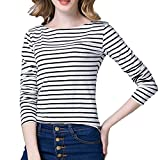 Tulucky Women's Casual Long Sleeve Shirts Stripe Tees Round Neck Tank Tops (S, White)