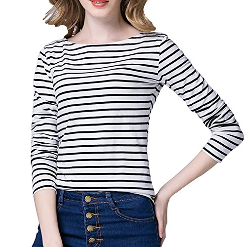 Stripe Casual Shirt (Tulucky Women's Casual Long Sleeve Shirts Stripe Tees Round Neck Tank Tops (M, White))