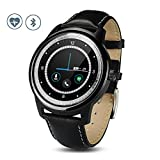 Bluetooth 4.0 Smart Watch, MOREFINE Leather Bracelet 1.33inch HD IPS Screen Waterproof Fitness Activity Tracker Fashion Wristwatch for Women Men Compatible with Android IOS Sleep Monitor
