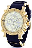 JOJINO Real Diamond Watch Chronograph Mens Gold Case Black Rubber Band MJX-1132