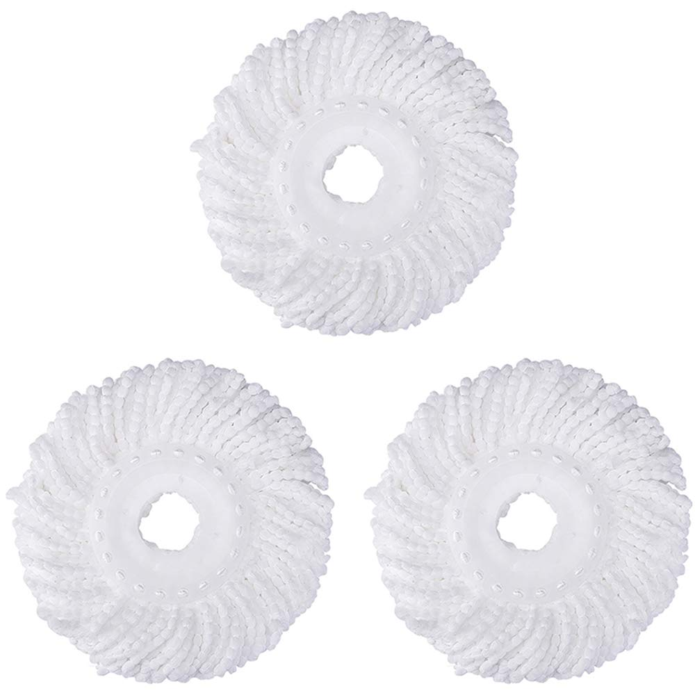 3 Replacement Mop Micro Head Refill Hurricane for 360° Spin Magic Mop-Microfiber Replacement Mop Head-Round Shape Standard Size (White-3 Pack)