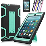 Fire 7 2017 Case, Mignova Heavy Duty Hybrid Protective Case Build In Kickstand For All-New Fire 7 Tablet (7th Generation 2017 Release) + Screen Protector Film and Stylus Pen (Black/Blue)