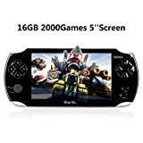 Handheld Game Consoles,16GB 5 Inch Screen 2000 Classic Game, Support Video & Music Playing, Built-in 3M Camera, in 1 USB Charge, Birthday and New Year's Best Gift for Kids (Black)